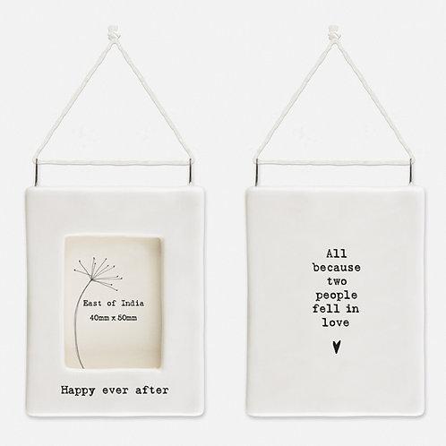 'Happy ever after' Little Porcelain Hanging Frame