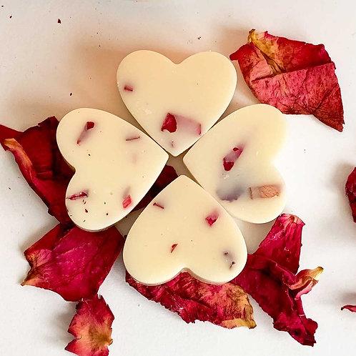 4 x Peony & Blush Soy Wax Melt Hearts