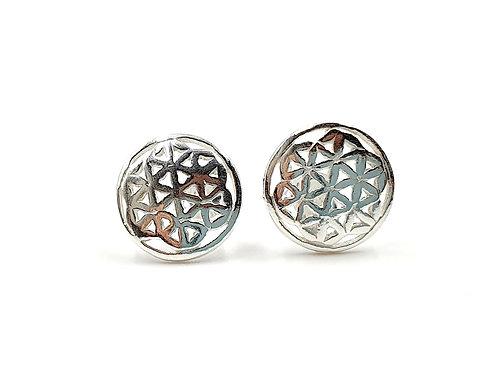 Mandala, daisy, daisy Mandala Earrings, Silver Daisy Mandala Earrings, Silver Daisy Studs, Sterling Silver Daisy Earrings,