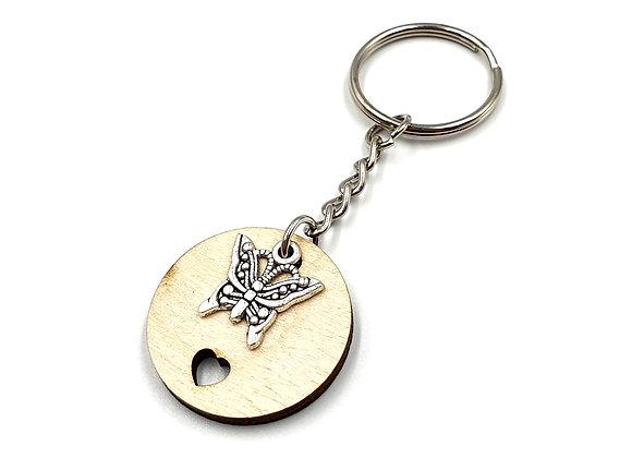 Key, Ring, Key ring, Keyring, Butterfly, Butterfly Keyring, Animal Key ring, Butterfly Key ring, Wooden Keyring, Wood,