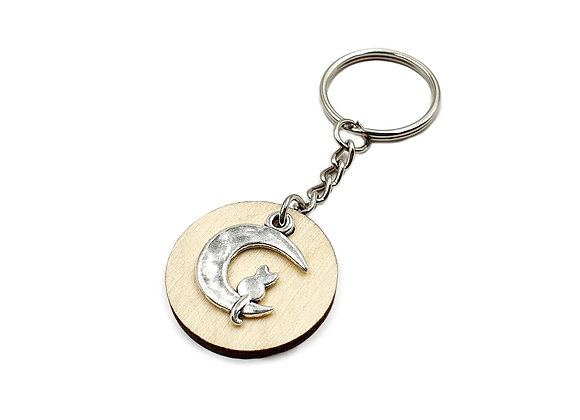 The Cat & The Moon Key Ring