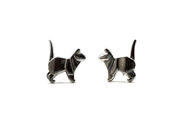 Sterling Silver Earrings, Cat, Cat Earrings, Silver Cat Earrings, Silver Cat Studs, Sterling Silver Cat Earrings,