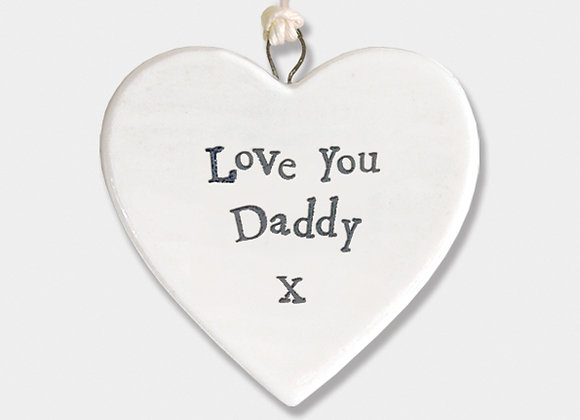 Mini Porcelain Heart 'Love you Daddy' Little Hanging Sign