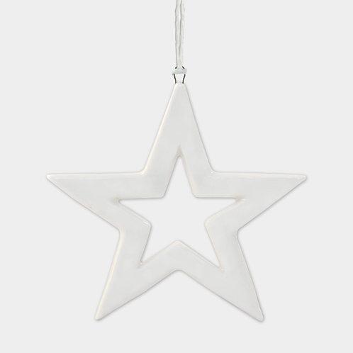 White Porcelain Outlined Star Hanging Sign