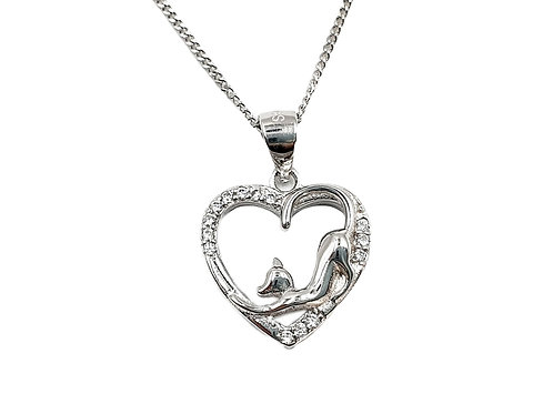 Silver, Cat, Love, Heart, necklace, Silver Cat Necklace, Sterling Silver Cat necklace, Sterling Silver Cat & Heart Necklace,