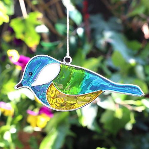 Blue Tit Bird Hanging Suncatcher