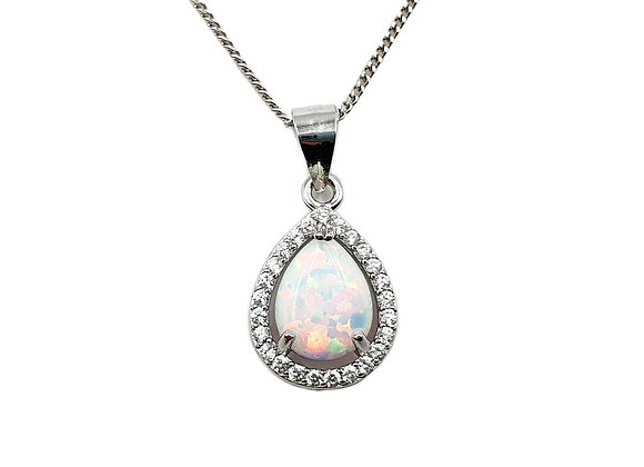 The Teardrop Frosted Opaline 925 Sterling Silver Necklace