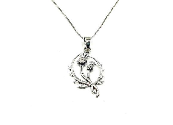 Silver Necklace, Thistle, Thistle necklace, Silver Thistle Necklace, Sterling Silver Thistle necklace, Sterling Silver,