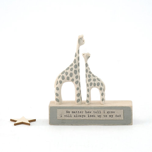 Little Wooden 'Look up to Dad' Mini Giraffe Figurine