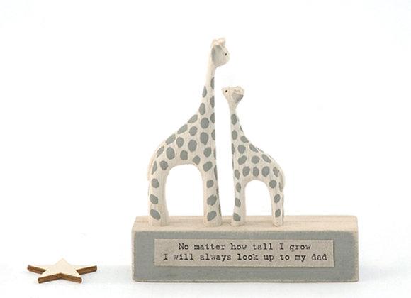 Little Wooden 'Look up to Dad' Mini Giraffe Figurine