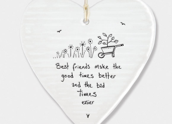 Wobbly Porcelain Heart 'Best Friends' Hanging Sign