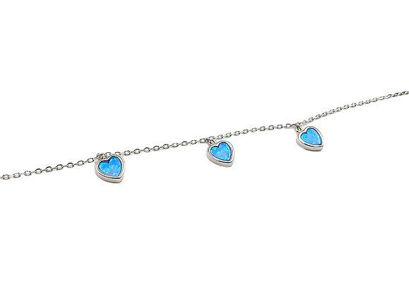 The Blue Opaline Heart Bracelet 925 Sterling Silver