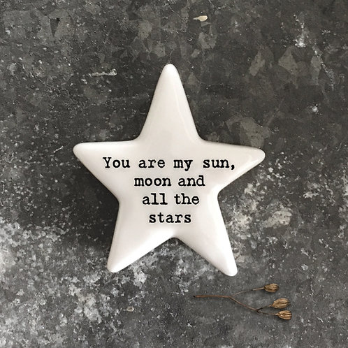 'My sun, moon & all the stars' Star Positivity Pebble
