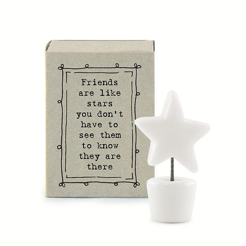 Little Matchbox Porcelain 'friends are like stars' Mini Star Figurine