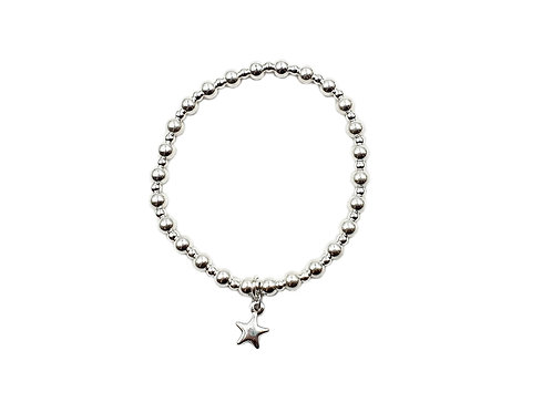 The Beaded Star Stretch Band Bracelet 925 Sterling Silver