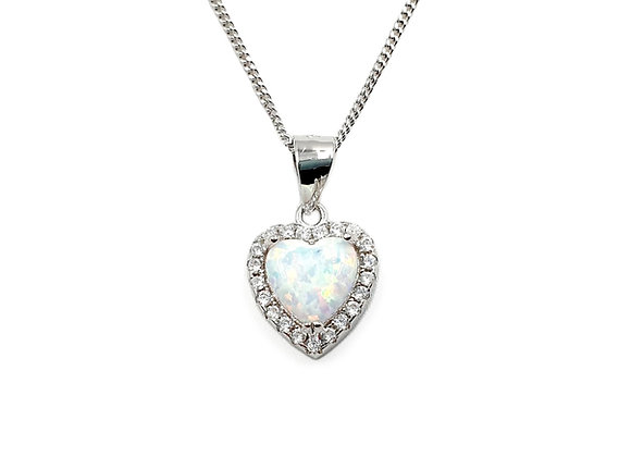 The White Opaline Frosted Heart 925 Sterling Silver Necklace