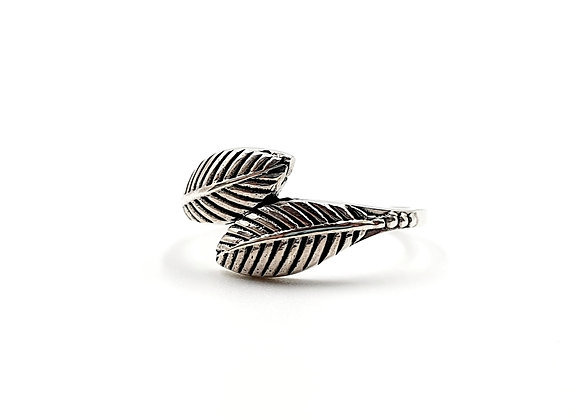 The Hugging Feather Leaf 925 Sterling Silver Ring