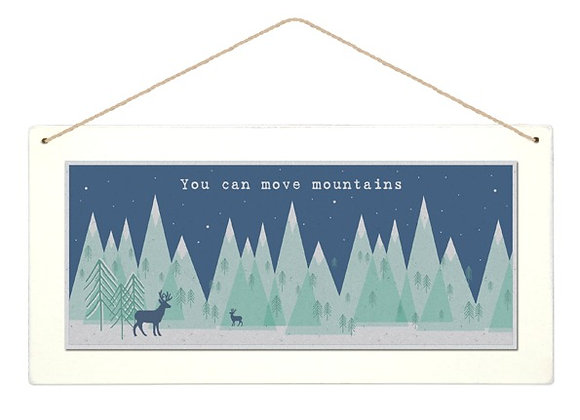 Wooden 'Move Mountains' Forest Hanging Sign