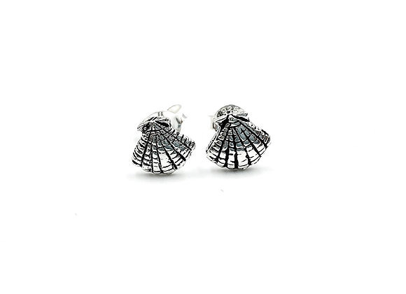 Sterling Silver Earrings, Shell, Shell Earrings, Silver Shell Earrings, Silver Shell Studs, Sterling Silver Shell Earrings,