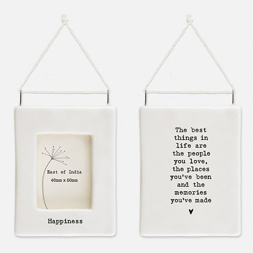 'Happiness' Little Porcelain Hanging Frame