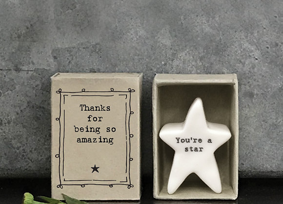 Little Matchbox Porcelain 'thanks for being so amazing' Mini Star Figurine