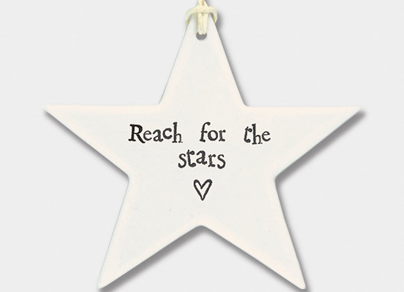 Smooth Porcelain Star 'Reach for the Stars' Hanging Sign