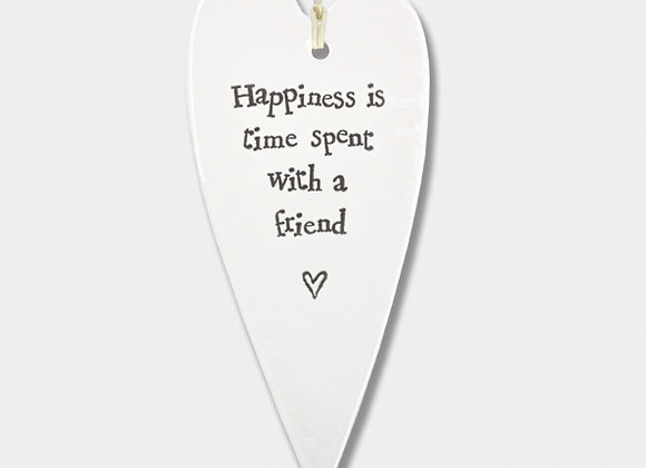Long Porcelain Heart 'Happiness is' Hanging Sign