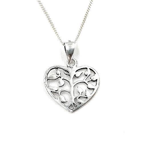 Flower heart, heart, flower, flower necklace, Silver flower heart Necklace, Sterling Silver flower heart necklace, necklace,