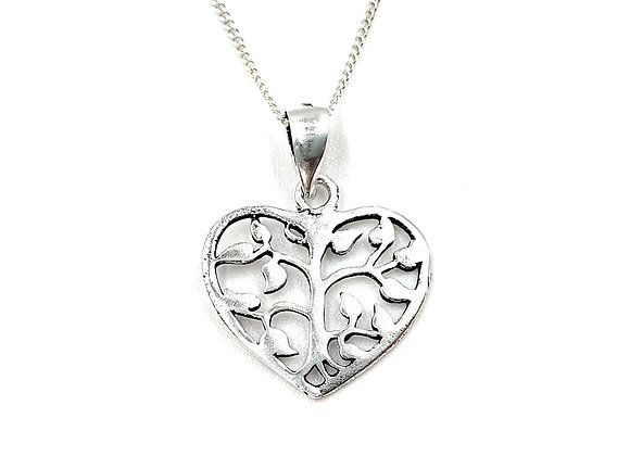Flower heart, heart, flower, flower necklace, Silver flower heart Necklace, Sterling Silver flower heart necklace, necklace,