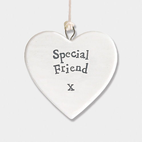 Mini Porcelain Heart 'Special Friend' Little Hanging Sign