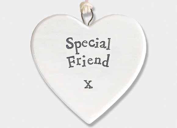 Mini Porcelain Heart 'Special Friend' Little Hanging Sign