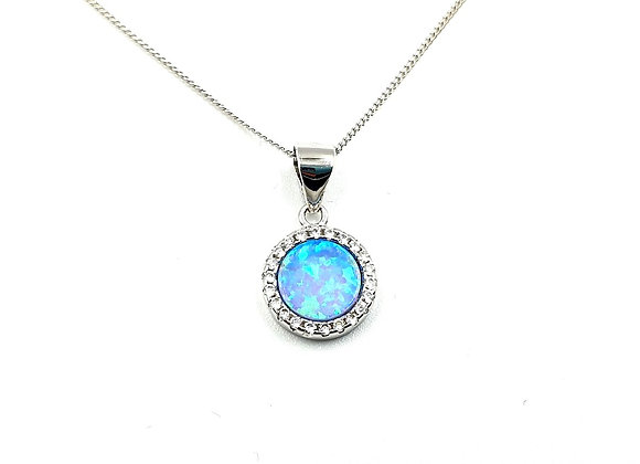 The Frosted Blue Opal 925 Sterling Silver Necklace