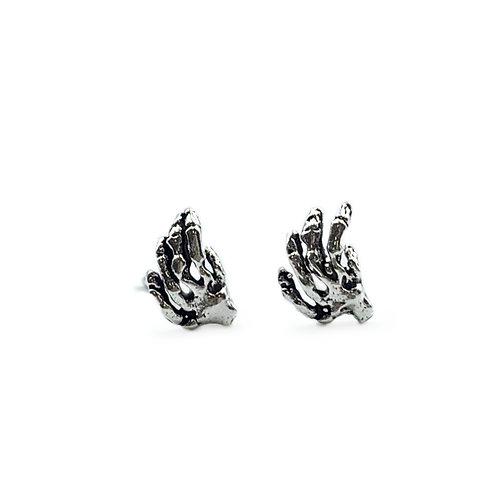 The Skeleton Hands Stud Earrings 925 Sterling Silver