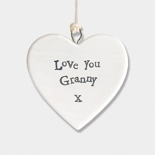 Mini Porcelain Heart 'Love You Granny' Little Hanging Sign