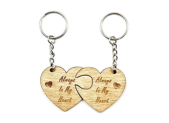 PAIR of Always In My Heart Jigsaw Key Rings