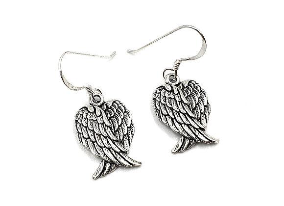 Angel, Wing, Earrings, Angel Wing Drop Earrings, Silver Angel Wing Drop Earrings, Sterling Silver Angel Wing Drop Earrings,