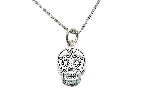 The Day of the Dead Skull 925 Sterling Silver Necklace