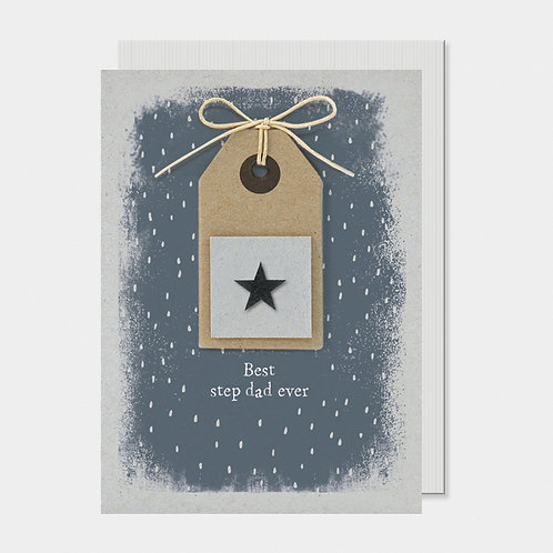 'Best step dad ever' Star Tag Greeting Card A6