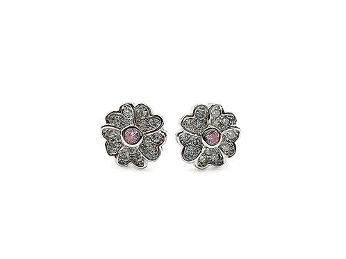 The Spring Flowers 925 Sterling Silver CZ Stud Earrings