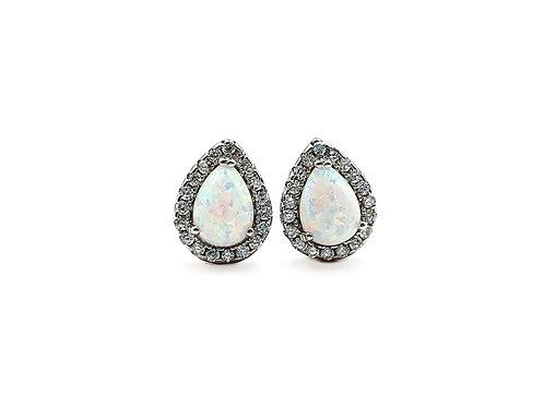 The Teardrop Opaline & Clear CZ Sterling Silver Stud Earring