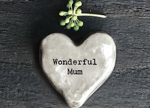 'Wonderful Mum' Positivity Heart Pebble