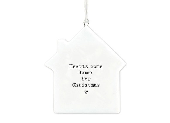 White Porcelain Christmas House Hanging Sign