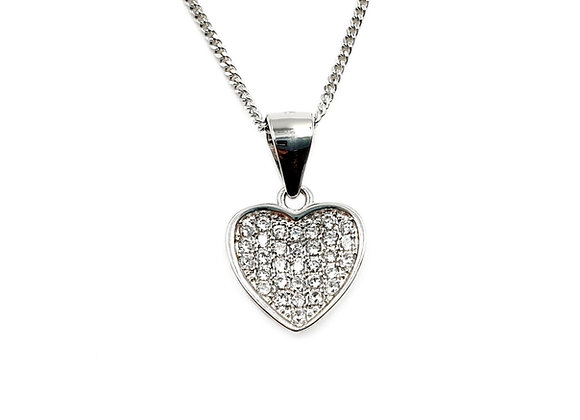 The Little Frosted Love Heart 925 Sterling Silver Heart Necklace