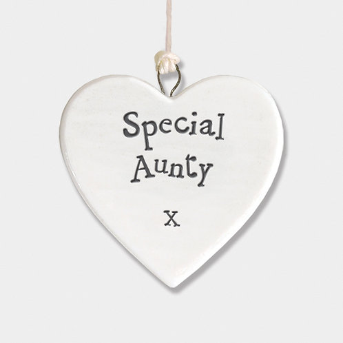 Mini Porcelain Heart 'Special Aunty' Little Hanging Sign