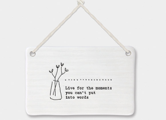 Porcelain Rectangle 'Moments' Hanging Sign
