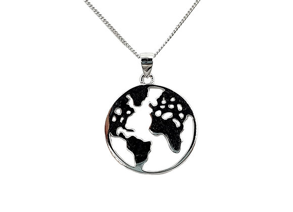 The Large World Map 925 Sterling Silver Necklace