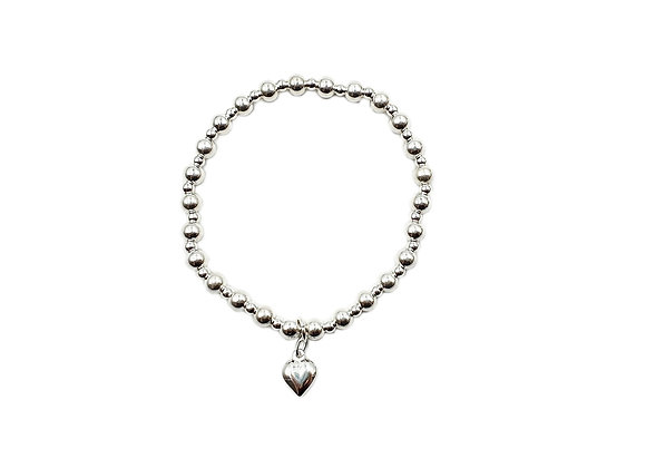 The Beaded Heart Stretch Band Bracelet 925 Sterling Silver