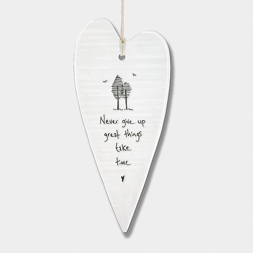 Wobbly Long Porcelain Heart 'Never Give Up' Hanging Sign