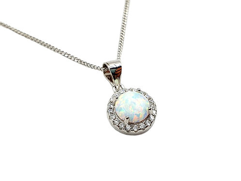 The Frosted Opal Circle of Life 925 Sterling Silver Necklace