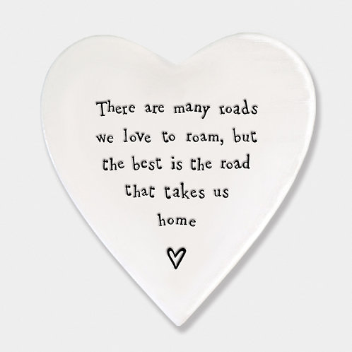 Smooth Porcelain Heart 'Road to Home' Coaster